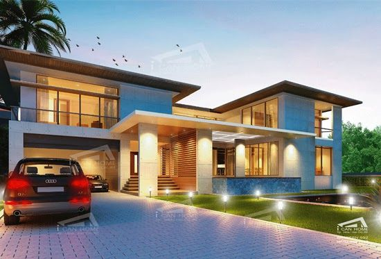 The 2 Story Home Plans 4 Bedrooms 5 bathrooms, Modern Style, Living area 640 sq.m, Home plan for sale. ~ Modern Tropical House Plans & Contemporary Tropical, Modern Style in Thailand