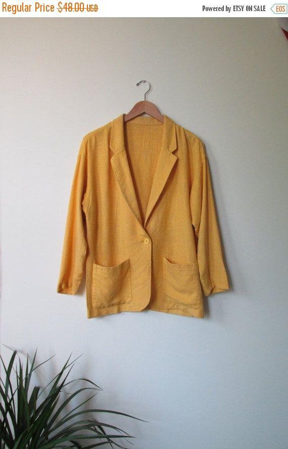 New to ColonyVtg on Etsy: ON SALE Vintage Bright Yellow Long Linnen Blazer Oversized Blazer - Vintage Yellow Linen Blazer Medium Oversized - Long Yellow Blazer Oversi (15.00 USD)