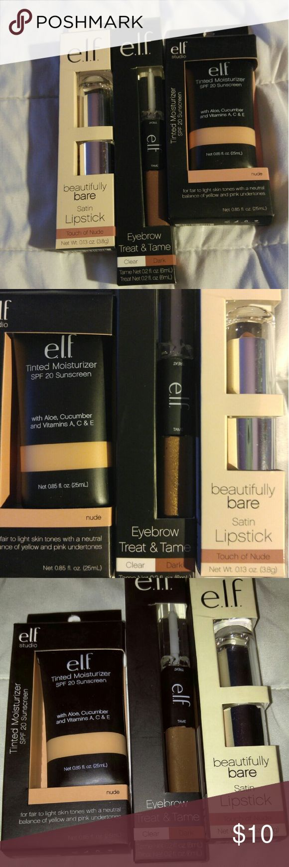 Elf beauty bundle Bundle of 3 elf products. Tinted moisturize in nude with spf 20 Elf eyebrow treat and tame in dark Elf beautifully bare satin lipstick in touch of nude. All but the lipstick has been swatched. Turns out they're not my color.   Use #bishoujo to sort for your size  Please note I do have several pets  #bundle #beautybundle #beauty #elf #elfbundle #elfcosmetics #elfbeautybundle #moisurizer #lipstick #eyebrow #moisturize #tintedmoisturizer #bundles ELF Makeup