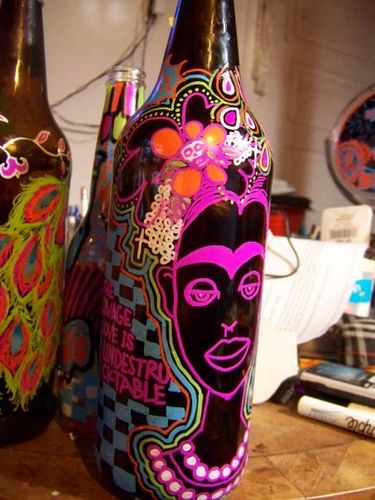 Frida Kahlo, painted on my beer bottle | Flickr - Photo Sharing!