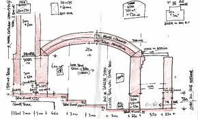 Peter Thompson's Bourry box soda kiln plan, Australia. He calls this kiln No 5 and says of it: I wanted a kiln that was easy on wood use and to use by the untrained or visitors. It has a big internal firebox for side stoking, to get a lot of direct fire contact on the work. Saggars and a loose brick bag wall are used to deflect fire up to the arch.