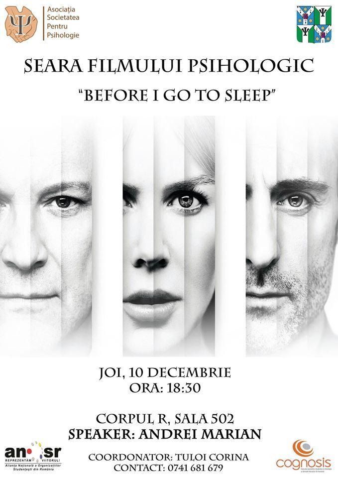 "Seara filmului psihologic – ""Before I go to sleep"""
