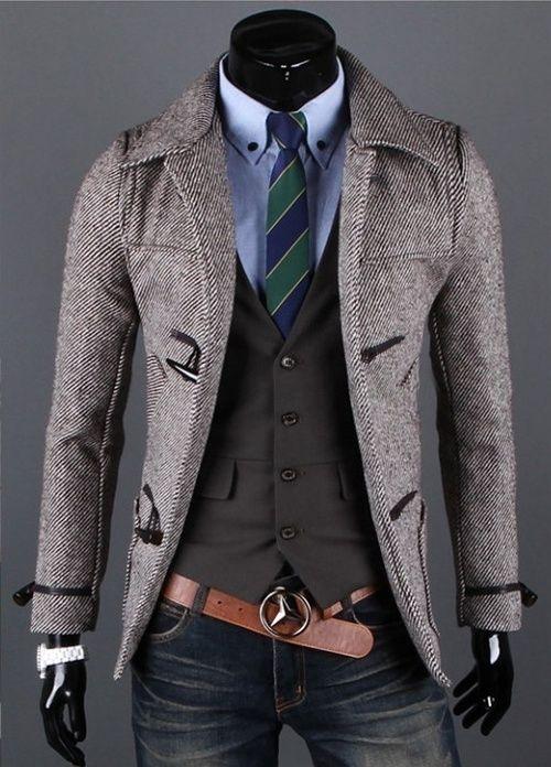 JJ Fashion Mens Slim Button Design Long Jacket Trench Wool Coat Black M~XXL J44