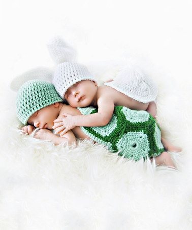 Look at this #zulilyfind! Green & White Tortoise & Hare Knit Beanie Set by JWhiz Crochet #zulilyfinds