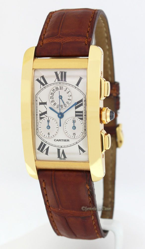 Cartier Tank Americaine Chronograph 18k Yellow Gold Quartz ...