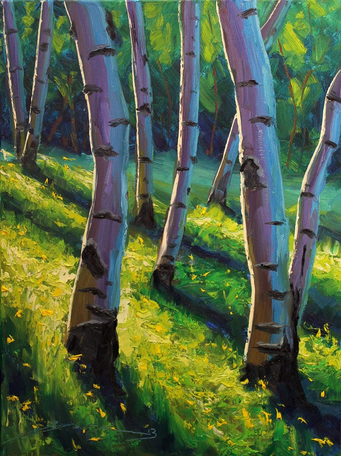 Summer Greens 18x24 Large Original Oil Painting Impressionism Forest Nature Aspens Birch Trees