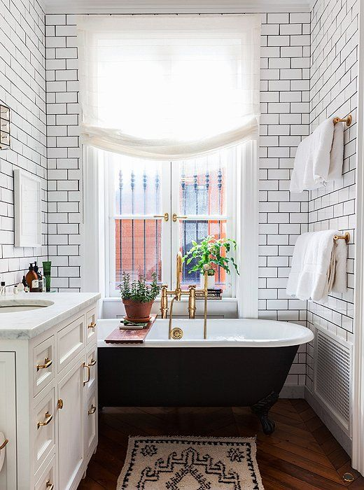 Tile/grout, vanity, floor, hardware 6 Gorgeous Small Bathroom Ideas -- One Kings Lane