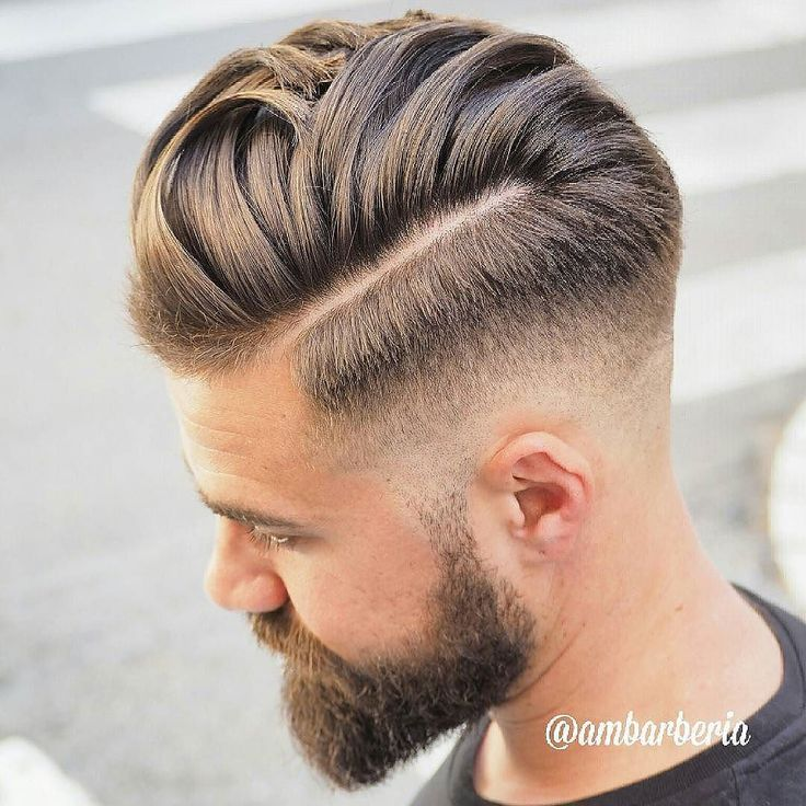 Cool Fade Haircut With Hard Part by @ambarberia  #menshair #menshairstyles #menshaircut #menshaircuts #haircuts