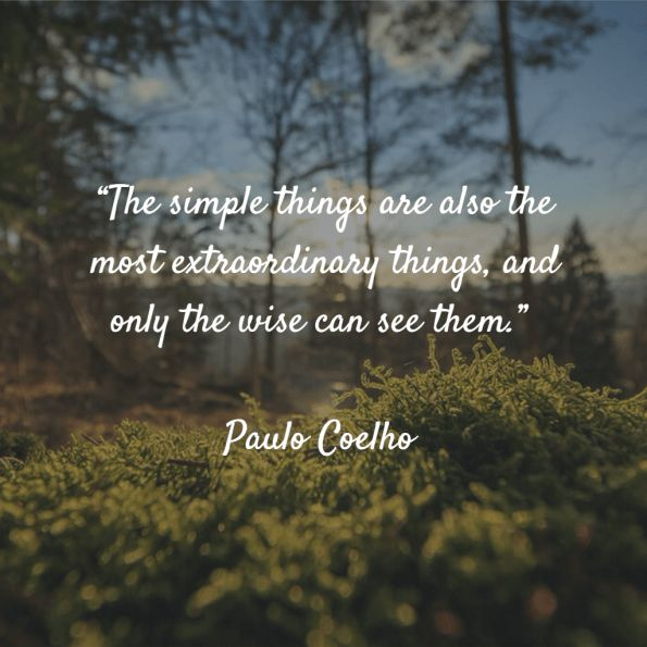 """The simple things are also the most extraordinary things, and only the wise can see them."" – Paulo Coelho"