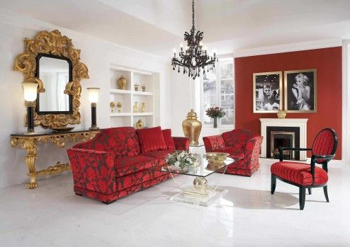 Furniture, Beautiful Luxury Living Space Design With Great Carving Wooden Mirror And Portray Artwork At Red Wall Above White Mantel Black Fireplace And Gorgeous Designers Red Floral Corduroy Sofa Sets Design ~ Beautiful Corduroy Sofas in Your Home