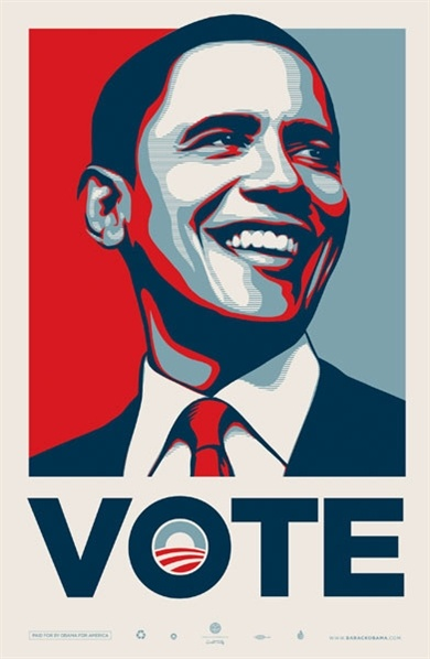 Shepard Fairey poster. I like this poster because it is very eyecatching it makes you want to read it. The first thing you see is the picture of obama it has been edited so that the colours are that of the american flag. The image of obama takes up the majority of the page and the text has been positioned at the bottom centre of the page. The font is bold and big so its easy to read, the text is simple and gets the point of the poster across in a simple but yet effective way.