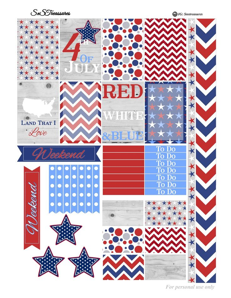 Free Fourth of July Printable Planner Stickers
