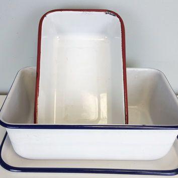 Classic Enamel Bakeware Set, Red White Blue Enamel Loaf Pans, Rustic Farmhouse Kitchen Decor, Shabby Chic, Country Farmhouse Kitchen Decor