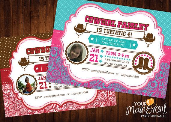 120 mejores imgenes de birthday invitations en pinterest cowboy and cowgirl birthday invitation western birthday party invites country birthday cowgirl solutioingenieria Choice Image