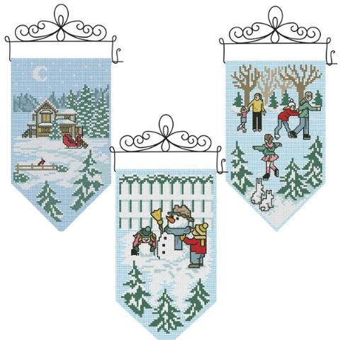 Herrschners® Winter Mini Banners Counted Cross-Stitch Kit