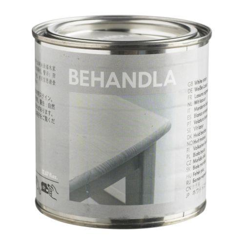 BEHANDLA Peinture haute brillance IKEA Pour personnaliser la surface en bois brut et la rendre plus solide et résistante à l'usure.