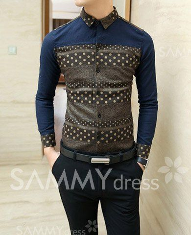 $17.57 Slimming Stylish Shirt Collar Polka Dot Color Block Splicing Thicken Long Sleeves Polyester Shirt For Men