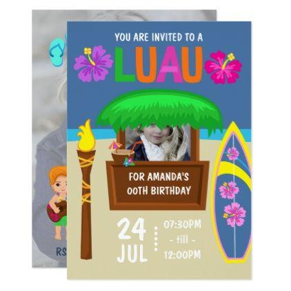 Kids Hawaiian Luau Party add photo Invitation - birthday gifts party celebration custom gift ideas diy