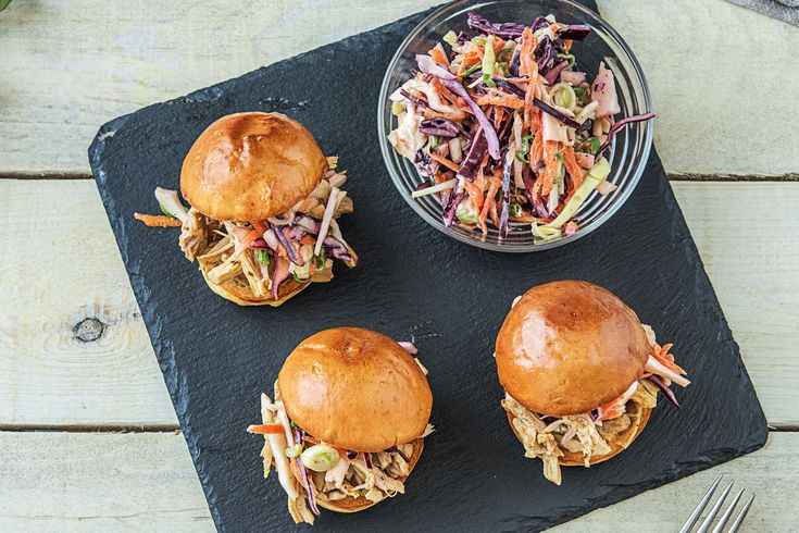 Pulled Chicken Sliders with Tangy Cabbage Slaw