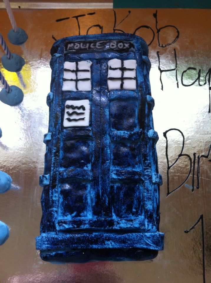 Tardis birthday cake I made for my stepson. Not bad for first attempt. Will be trying again for my sister next month.