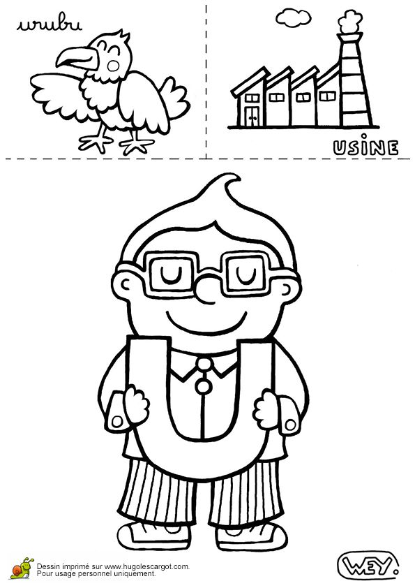 Colorie les dessins d'urubu et d'usine pour indiquer la lettre U