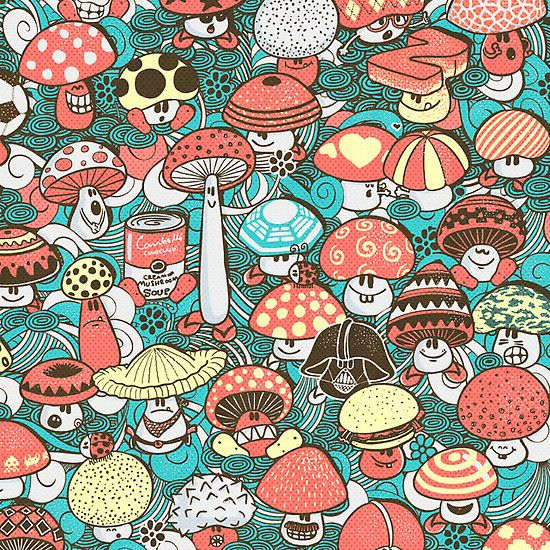 Awesome mushroom character illustration. Hongos by walmazan.