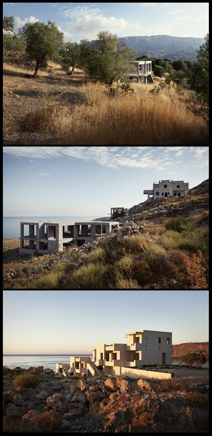 Lost in Transaction: Greek Properties by Patrick van Dam    This photo series will take its audience to different Greek islands where the development and sales of villa's and hotels have been postponed because of the economic crisis. These concrete, bone-like structures are far from being completed and some have already waited years for financial aid or to be bought.