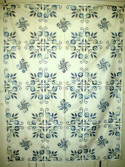 Blue And White Cross Stitched Embroidery Quilt Victorian