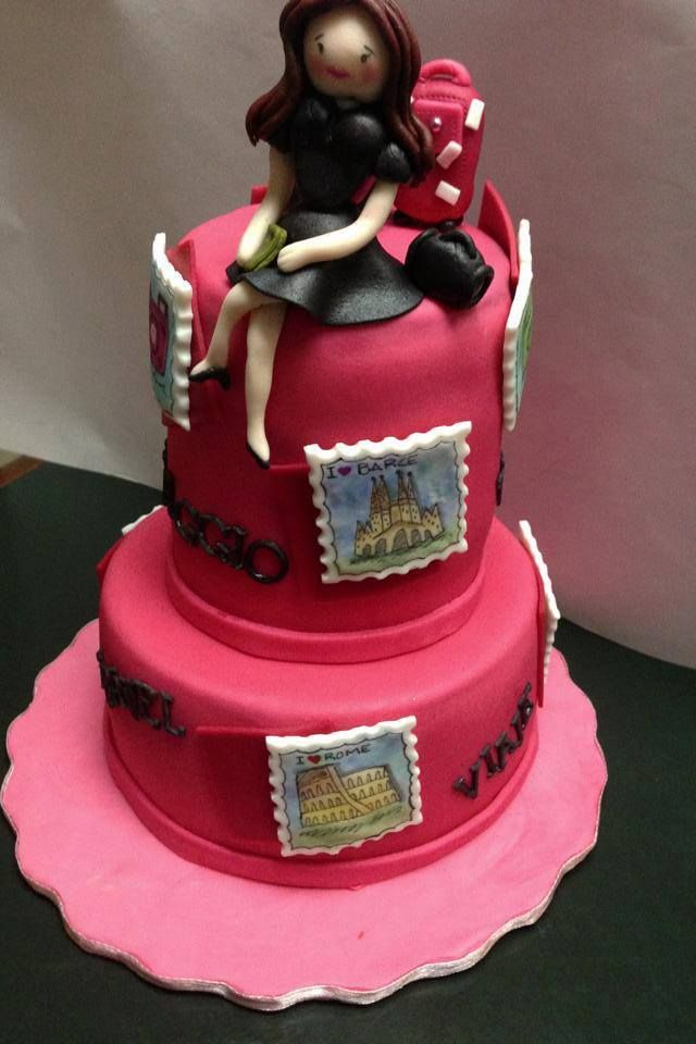 Bon voyage cake hot pink fondant cake girl topper