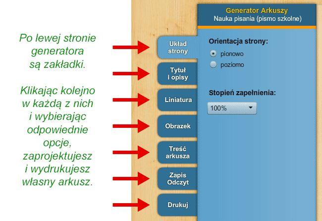 Generator arkuszy - Nauka pisania (pismo szkolne) - SuperKid