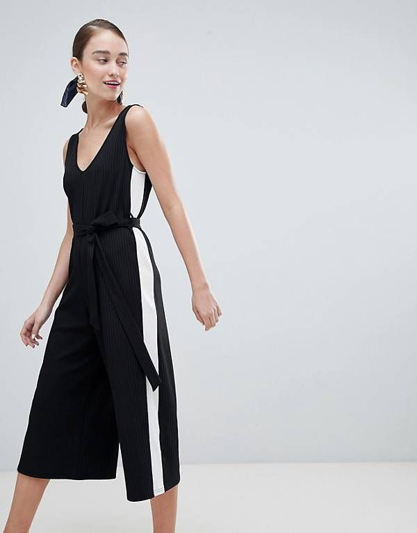 2fe0c58ca10 New Look Side Stripe Rib Jersey Jumpsuit