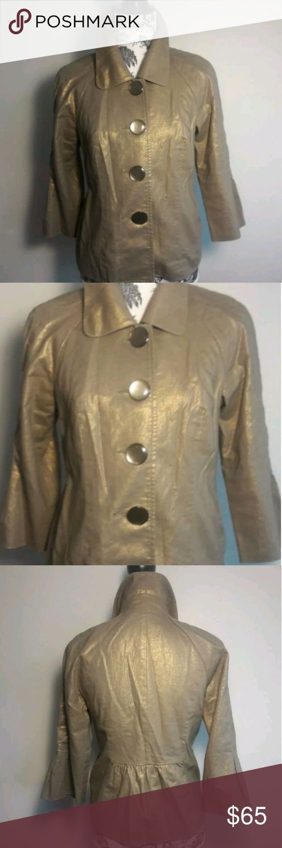 Mac & Jac Iridescent Gold Metallic Jacket Size M Mac and Jac   Iridescent Gold Metallic Shimmer Jacket W 3/4 Sleeves, Big Beautiful Iridescent Buttons & Two side pockets. Women's Size Medium. Retro Chic Super Cute & Stylish Jacket. Can be worn on any occasion. Dress it up or dress it down. Perfect addition to add to your wardrobe.A MUST HAVE!!!  Pre-owned in excellent condition  Color may not be exact due to lighting  Thank you for Looking & Sharing Happy Poshing😄 Mac & Jac Jackets…