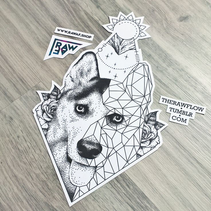 Dotwork Geometric Dog Portrait Tattoo Made For Bryan