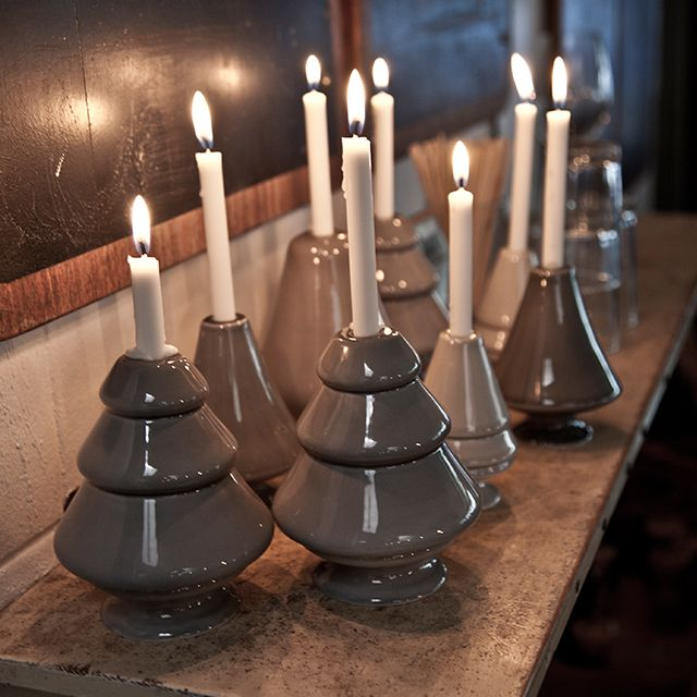 The Avvento spruces fit short, slim candles, and they can either be displayed separately or in a cute little advent display.