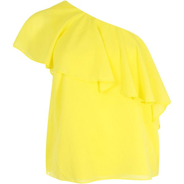Alice + Olivia Bluse (£150) ❤ liked on Polyvore featuring tops, blouses, yellow, one shoulder blouse, flutter-sleeve top, yellow ruffle top, flounce tops and frilly blouse