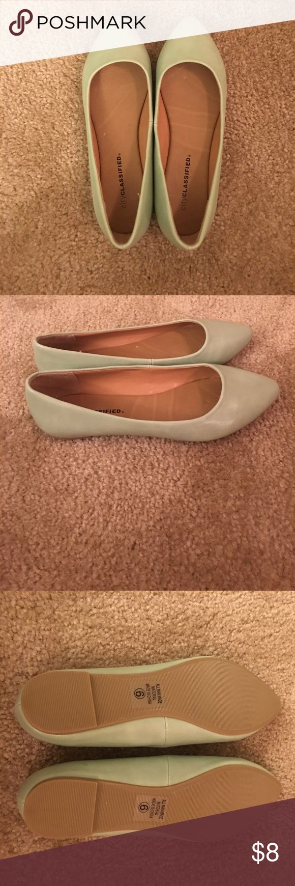 "City Classified Seafoam Mint Green Flats Never worn. Doesn't have a box. Small ""scuff"" on left shoe as shown- not noticeable in my opinion. Seafoam green/pastel green/mint green color. Pretty for spring/summer. Forever 21 Shoes Flats & Loafers"