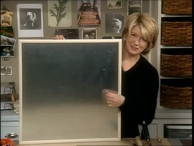Martha Stewart makes a magnetic bulletin board with a snap together wood frame, galvanized sheet metal, a masonite board, adhesive and wire. She also creates a Good Thing by using the leftover sheet metal as a drawer liner.