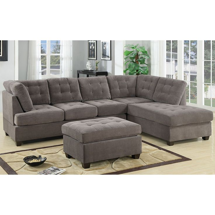 3 piece modern large tufted grey microfiber sectional sofa With tufted sectional sofa microfiber