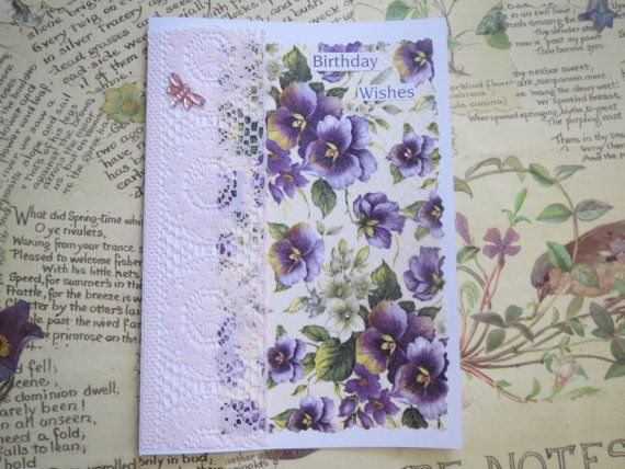 Birthday Wishes Handcrafted Greeting by LinLovesPaper on Etsy