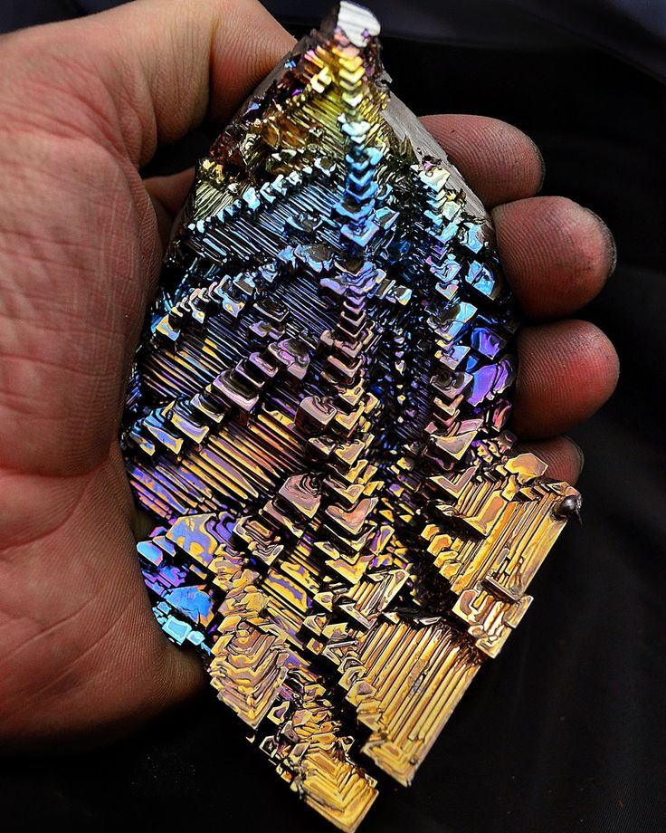 Large Bismuth Metal Crystal, Iridescent, Fractal, and Unique. like a city in your hand. what beings live there...