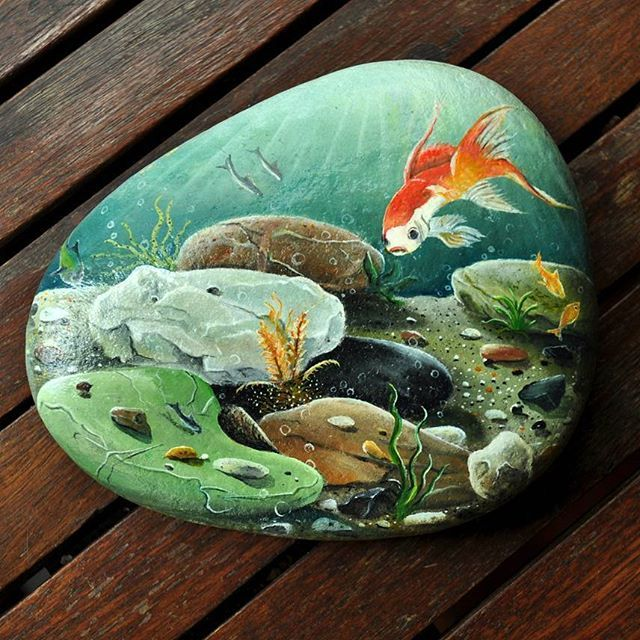 Wow! Cool underwater scene painted rock!