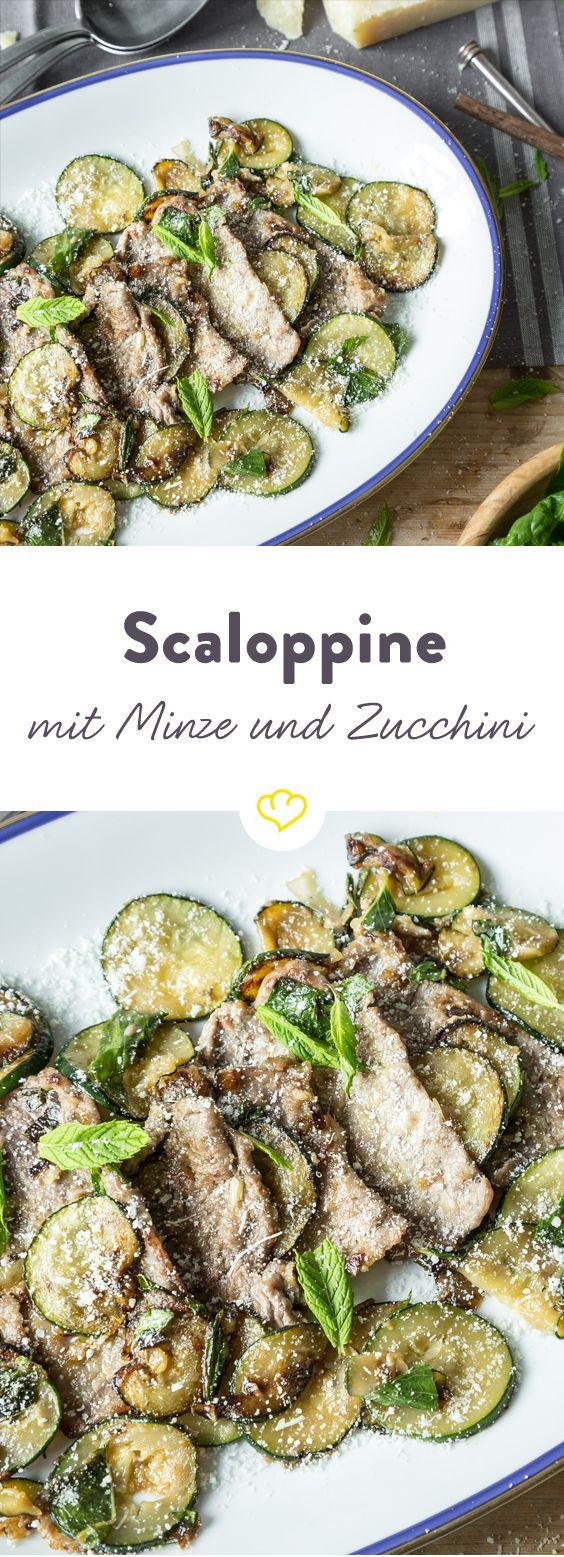 Schick deine dünnen Kalbsschnitzelchen zur würzigen Zucchini und aromatischen Minze… und zurück bekommst du ein erfrischtes und schmackhaftes Schnitzel, das nach Urlaub schmeckt!