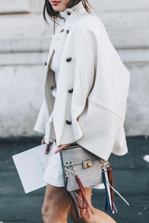 cream jacket, crossbody bag. #streetstyle look