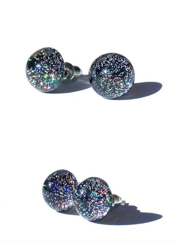 Infinity stud earrings, post earrings, small stud, resin earrings, tiny stud, gift for her, black, earring stud