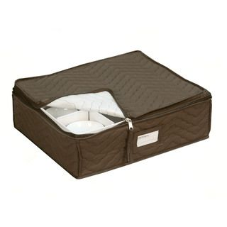 N Quilted China Cup Storage In Brown (China Storage) (Fabric)