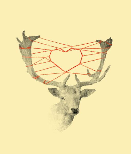 How are you dearie, wool heart, budi satria kwan, dear, animals, Stretched Canvas