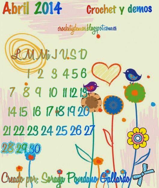 Iniciativa - Fondo de pantalla - Calendario Mes de Abril 2014 | Mundo crochet