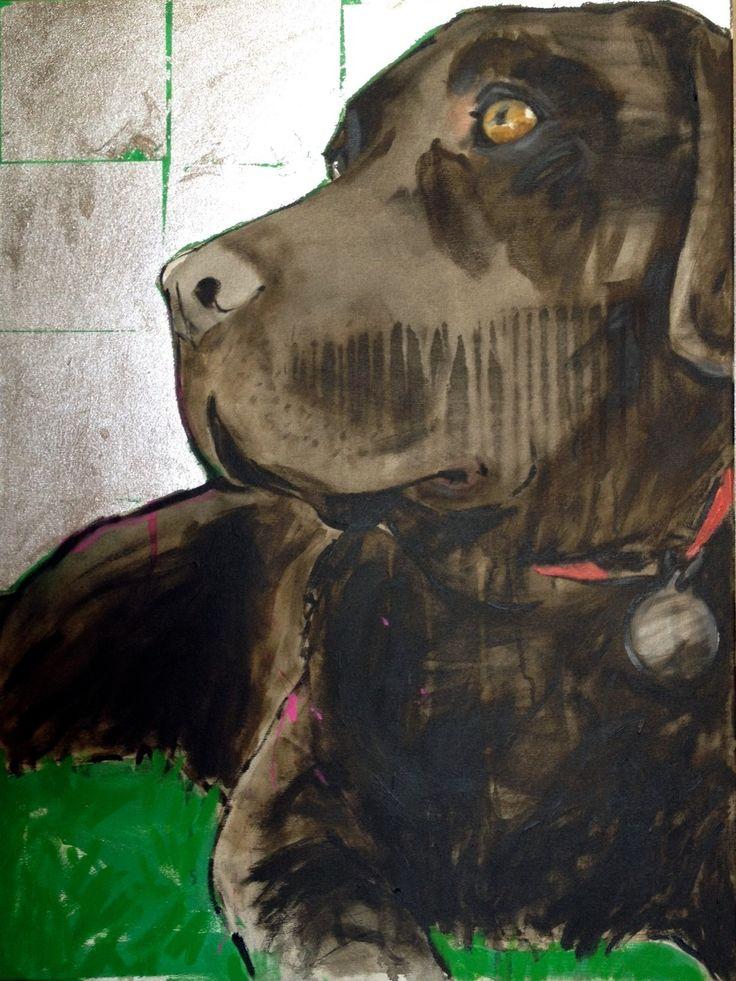 Bailey   acrylic and silver leaf on canvas 60cmx80cm Www.cassiethring.com