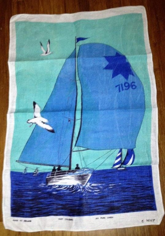 "Vintage 1970s Sailboat ""7196"" Blue Tea Towel / Retro Tea Towel / Pure Linen Tea Towel / Made in Ireland by V1NTA6EJO"