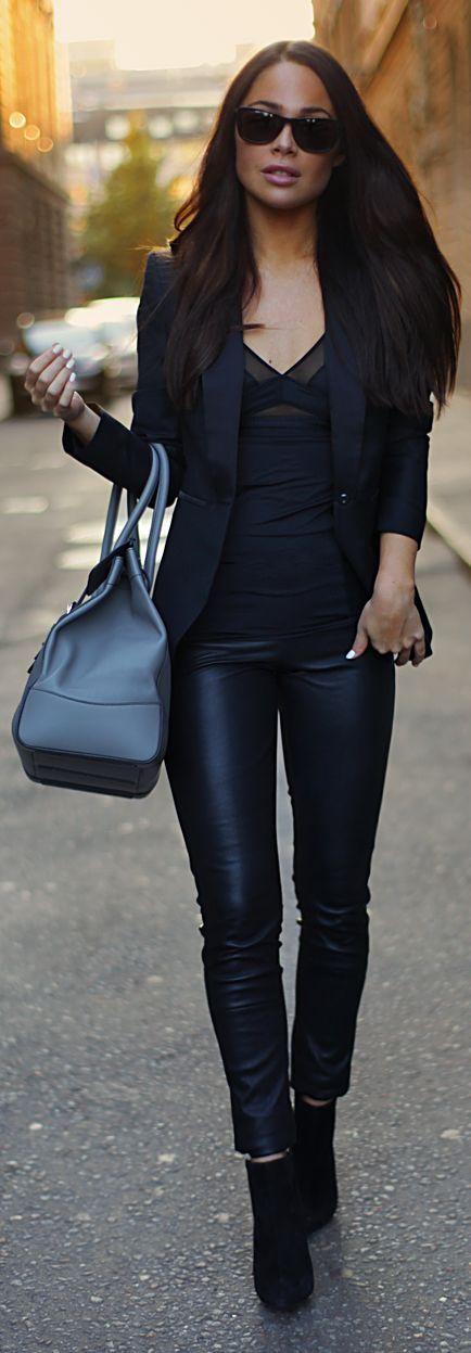 Black Skinny Leather Ankle Pants